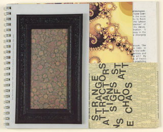 On the bottom half of the front cover, the present object is enclosed in its original paper wrapper, bound by the spiral on the left and extending over the right edge and to the back, until it again meets the spiral. Text in black type, picking up somewhere in the middle of the narrative, and laid out parallel to the page length, begins on the wrapper recto and continues on the verso. In the lower half of the recto, the text is interrupted by the exhibition catalogue title, Strange Attractors: Signs of Chaos, in large black sans serif type, the words placed unevenly. Lines of capital letters in beige-on-beige form the background; their content appears to be random, except for three lines appearing below the title, New Museum of Contemporary Art/ September 14-November 26, 1989/ Curated by Laura Trippi. Unlike the page sequence in the unwrapped catalogue, the cardboard covers are placed toward the center. The visible upper half of the first page behind the wrapper shows a fractal image, photographed by Richard K. Voss.