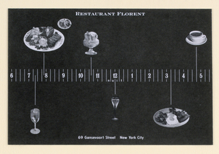 Recto and Verso: The design features a twenty-four hour time line, representing the Restaurant Florent's hours of operation. Recto: On a black background, signifying nighttime, the time line, approximately 10 mm (3/8 in.) high, extends across from left to right edge, imprinted in white with the numerals 6 [p.m.] to 5 [a.m.], separated by thin vertical lines equivalent to quarter hour intervals. Under the numeral 12 in the center, in small lower case letters, nuit is imprinted, each letter appearing within the space formed by the lines. Just below the top edge, center, Restaurant Florent is imprinted in upper case letters, and just above the bottom edge, center, the address is imprinted in smaller upper and lower case letters. Photographic illustrations of food and drink (e.g., a dinner plate of meat and vegetables, a glass of wine, a plate of eggs and breakfast meats) appropriate to the time of day appear at the ends of vertical lines extending from above and below the time line. Verso: On a white background, signifying daytime, the time line continues, imprinted in white with the numerals 6 [a.m.] to 5 [p.m.]. Above the numeral 12 in the center, noon is imprinted in the same manner as nuit on the recto, and  the restaurant name is imprinted in the same position and style as on the recto. Just above the bottom edge, center, Open 24 hours is imprinted, followed by the telephone number. As on the recto, illustrations of food and drink extend from vertical lines. In the upper right corner, a dotted line rectangle marking off the stamp area shows a plate of food at its center, M&Co at its lower left and USA at its lower right.