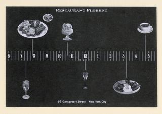 Postcard, Restaurant Florent:  Time line/ food