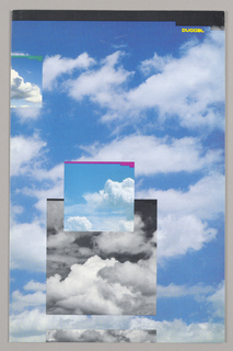 The front and back covers (both are outside pages) are viewed as one continuous design featuring a photographic view of an all-over pattern of dense white clouds against a deep blue sky. Four square or rectangular inserts, also showing cloud views, each bordered at the top by a differently colored narrow strip ending in an inverted step design, are superimposed: upper left, near the edge, clouds darken at the lower edge, yellow strip; top center, straddling the fold, green strip; lower right, off-center, small color view, red strip superimposed on larger black and white view, black strip; abutting lower edge, immediately below this pair, a narrow black and white view, in the form of a narrow strip exactly as wide as the black and white view above. A black band in the same step design stretches across the top of both pages; Duggal, in small white capitals, is imprinted immediately below the step on the top right. On the lower left are five lines of type about Duggal.   The five inside pages and the three remaining outside pages continue the black border design, on which color strips of cloud views are superimposed. Products and services, presented in chart form, are differentiated on the left by dots in deep sky-blue and highlighted by narrow strips in the same color above the product names.