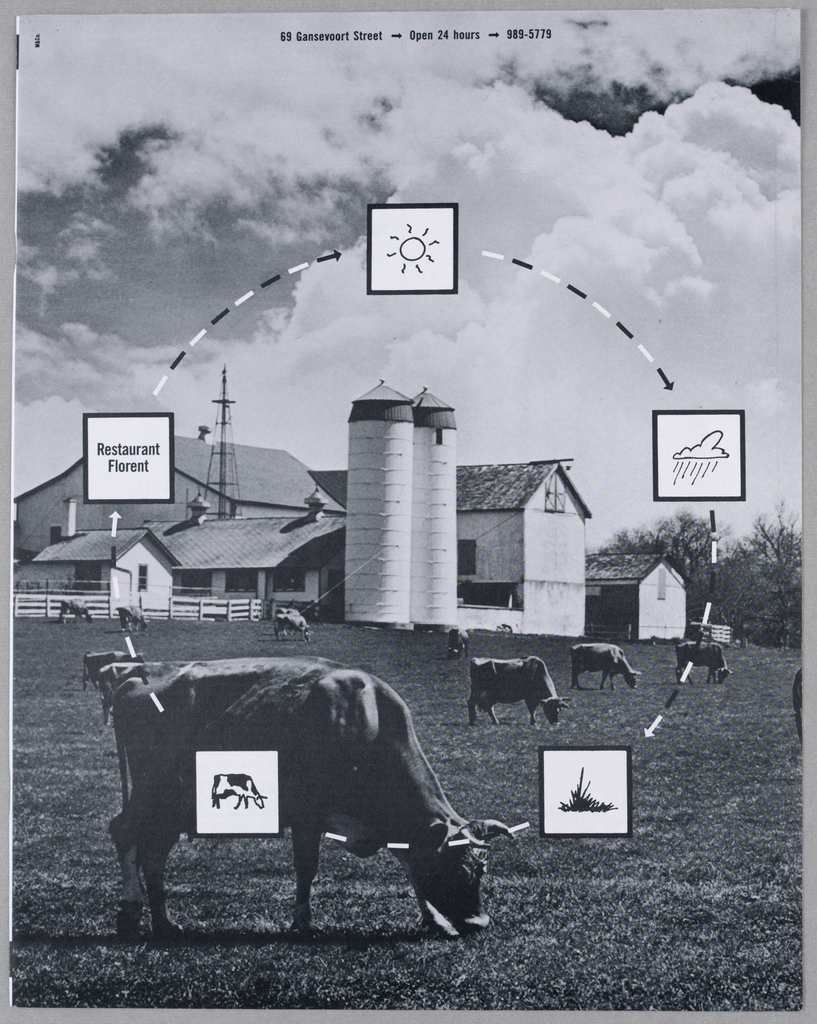 The design comprises a field of grazing cows in the lower half, against a background of farm buildings and sky filled with cumulus clouds. Five pictographic squares, outlined in black and featuring a sequence of sun, raincloud, grass, a cow and the words, Restaurant Florent, are placed on a circle composed of dashes and arrows. The arrows point in a clockwise direction from one pictogram to the next, describing a food cycle. At the top of the page is the restaurant's address and other pertinent information.