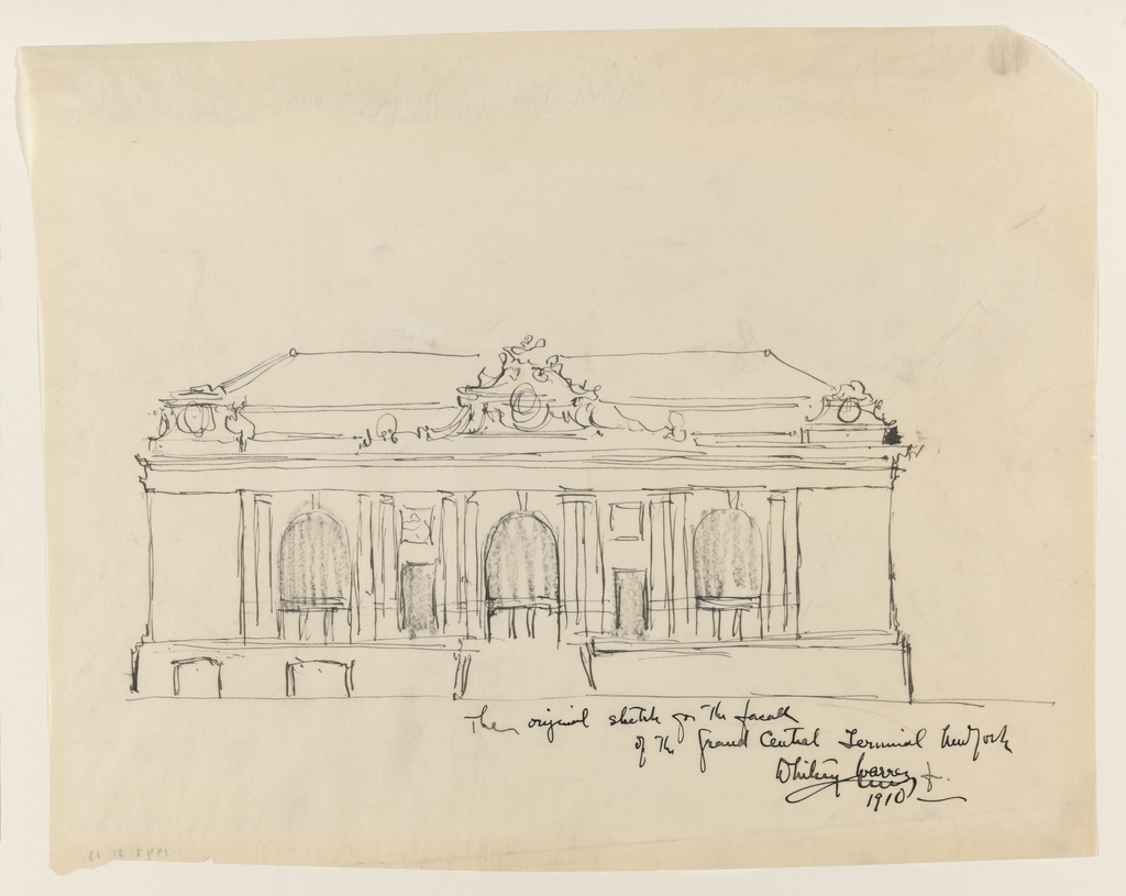 A front elevation of lower and upper story is shown, with staircase leading up to the main entrance at center.  Five bays, alternately of different sizes, are placed between the corner projections. Roof ornamentation suggested at upper center of upper story.