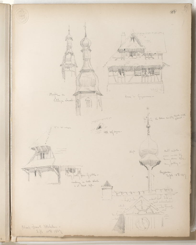 """Vertical sheet with frayed bottom and right edge.  Illustrated are sketches of buildings and architectural features.  Beginning from top left are two domed steeples, both with shingled onion-shaped cupolas and tall finials. At right is an elevation of a timbered building with a large, deep gable on both stories which shade open windows with shutters.  In the center is a very small sketch of a dormer within a shingled or tiled roof.  At lower left is likely the same gabled building sketched on the  upper half of the sheet, but now viewed from a corner angle, the gables supported by very large timbers which the artist identifies as being """"at least 3 ft.""""  At lower right is a very quickly sketched tiled or shingled roof with an awkwardly oversize """"bell"""" cupola, as it is named by the artist.  The cupola projects from the roof on a very thin support, and balloons above it.  The cupola is shingled, and terminates in a small ball finial with weathervane."""