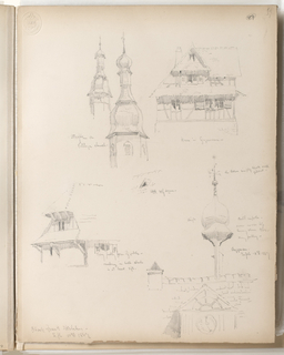 "Vertical sheet with frayed bottom and right edge.  Illustrated are sketches of buildings and architectural features.  Beginning from top left are two domed steeples, both with shingled onion-shaped cupolas and tall finials. At right is an elevation of a timbered building with a large, deep gable on both stories which shade open windows with shutters.  In the center is a very small sketch of a dormer within a shingled or tiled roof.  At lower left is likely the same gabled building sketched on the  upper half of the sheet, but now viewed from a corner angle, the gables supported by very large timbers which the artist identifies as being ""at least 3 ft.""  At lower right is a very quickly sketched tiled or shingled roof with an awkwardly oversize ""bell"" cupola, as it is named by the artist.  The cupola projects from the roof on a very thin support, and balloons above it.  The cupola is shingled, and terminates in a small ball finial with weathervane."