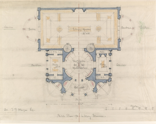 Floor plan of the Library Museum at top flanked by exedrae and gardens; vestibule, center, flanked by studies and gardens; entrance and steps at bottom; scale, lower right.  Edges pasted to a backing sheet of paper.