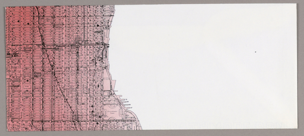 Recto: There is a pink and black Manhattan street grid, stretching from Eleventh Street at the lower edge to Fifty-Seventh Street at the upper, and from Tenth Avenue at the left edge to the Franklin D. Roosevelt Drive, almost to the center.   Verso: The grid design continues from the recto, this time on the right, on both the flap and body of the envelope . A red square on the flap marks the uptown condominium location. Beneath the flap, the grid is cut off on the diagonal on the right, forming a white space from the diagonal edge to the right edge. The Memphis (condominiums) logo is imprinted in that space, with the word uptown just above it and the two line address beneath, both in black.