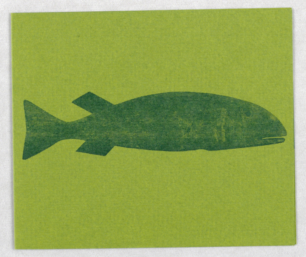 Dark green fish on cover; partial green fish inside right edge.