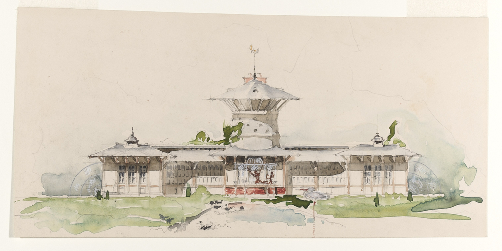 A colorful proposal for Oliver Belmont's monkey house. The building is to be a three-story structure with a central observation tower, and two flanking wings, here presented in a verdant landscape.