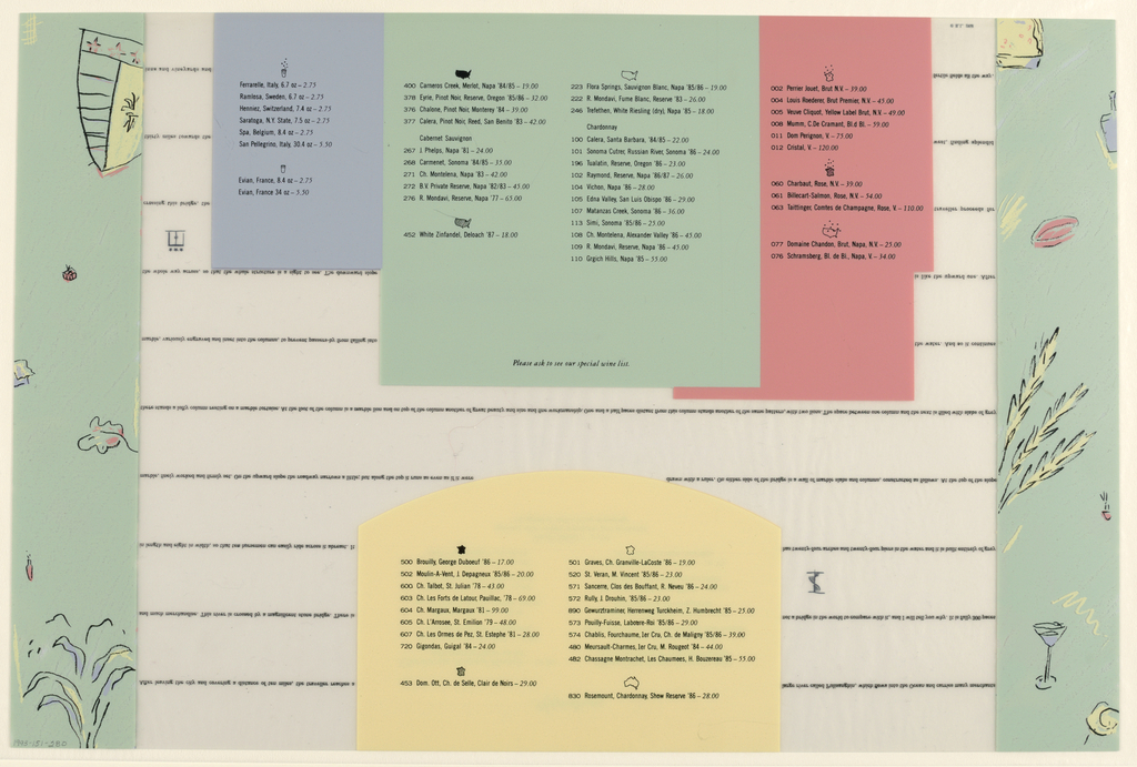 Recto: The near rigid, transparent material is edged left and right by 5 cm. (2 in.) borders in a mottled, pale green, overlaid by sketches (e.g., chopsticks, a bowl on a table, a wine bottle, a leaf) in thin black outline with salmon, yellow and lavender-gray highlights. Ten horizontal lines of miniscule type, at evenly spaced top to bottom intervals, describe a traveller's journey in the Pulisanghin River region in China. The narrative is overlaid, but not abbreviated, by four opaque menu sections: from the top-center edge to above mid-center, centered side to side and finishing in a convex boundary, Appetizers, in script on yellow; from mid-center to bottom edge, centered side to side, Entrees, in capitals on a pale green square; to the left of the square, Rice, in upper and lower case on a smaller gray rectangle abutting the square on the right and a short distance from the border on the left; and to the right of the square, Vegetables, in capitals on a salmon rectangle, in effect behind the square, and with a stepped right edge. Menu selections are listed in italics, each followed directly beneath by accompaniments in upper and lower case. Just above the lower edge of the square is the Chef Makoto Tanaka and to the right, within the salmon rectangle, is No cigar or pipe smoking, please.  Verso: The same opaque sections - that is, the reverse sides of the recto - form the backgrounds of listings of beverages. Pictographs serve as headings. Border designs are of the same type as on the recto; a sketch of part of the China Grill logo, the shield, appears in the border on the upper left.