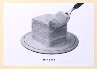 Postcard, Restaurant Florent:  Bastille Day/ Layer cake