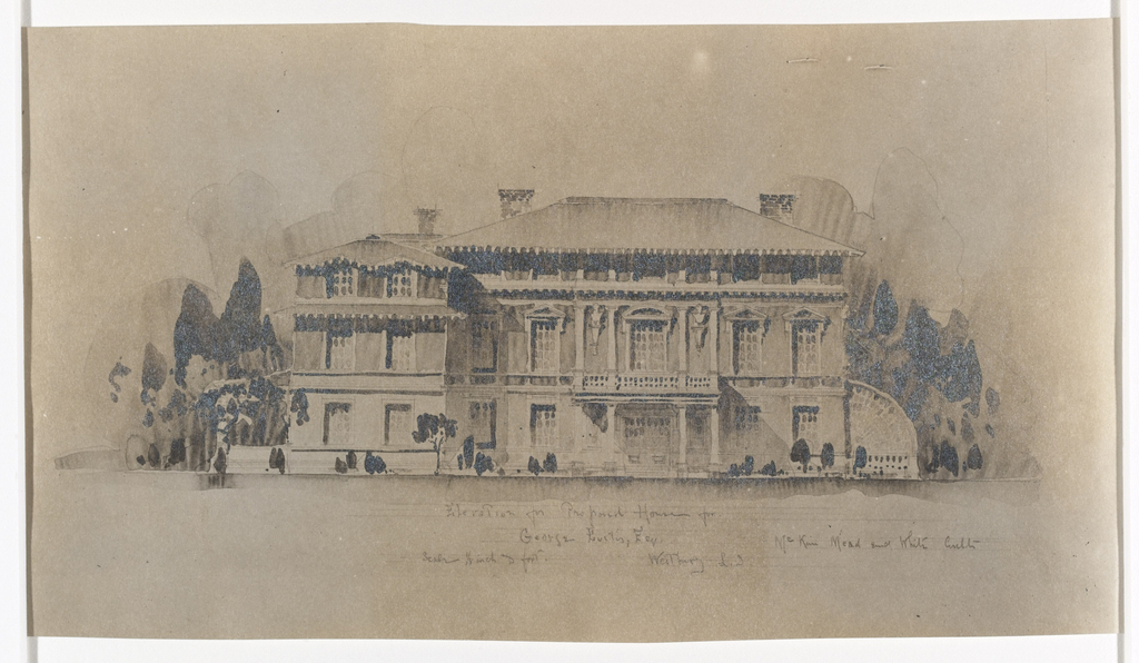 From 1896 to 1898 Whitney Warren worked intermittently in the offices of McKim, Mead & White as a draftsman, this drawing of a proposed house for George Eustis, however, was to be his own commission. The house is to be three stories, below a roof with a prominent cornice, and with a classically inspired facade.