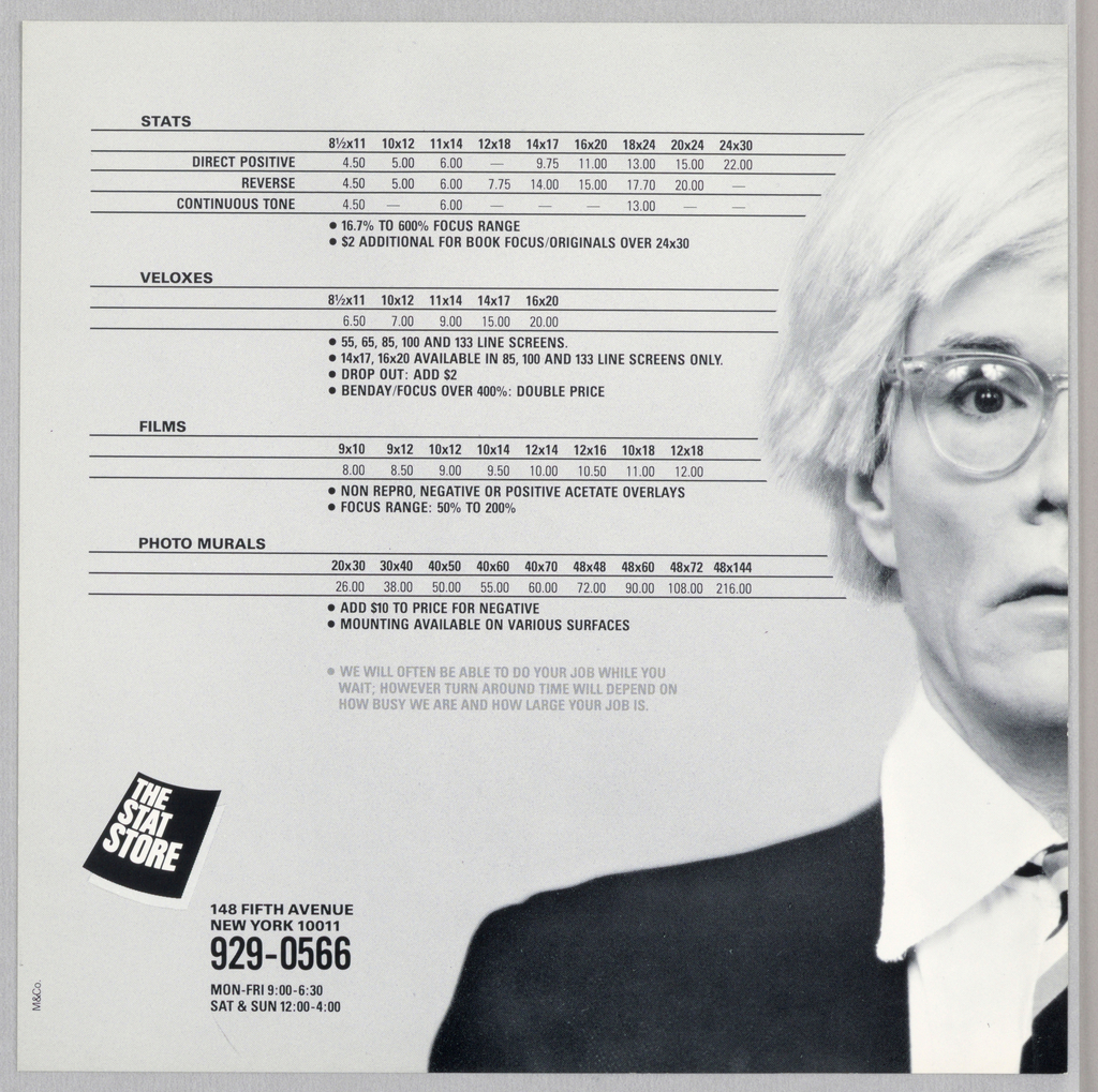 One half of the design, in color, comprises the right-hand page, while the other half, in black and white, comprises the left of this photo print shop advertisement. The head shot of the artist, Andy Warhol, occupying the center from top to bottom, is divided vertically in the center, so that one half of his face appears on each page. His body, depicted upwards from just below shoulder level, extends at the shoulders about two-thirds of the way across each page. His straight, white blond hair, cut unevenly, brushes the tops of his ears, and falls to the side in bangs. He stares at the viewer through colorless, plastic rimmed glasses;  his slightly parted lips are curved downward. He wears a white shirt with frayed collar; a yellow, red and black rep tie; and a black jacket. On the gray (left) and red (right) backgrounds, nine different Stat Store services, four on the left and five on the right, are listed, with their prices, within narrow bands formed by thin black lines. Identical images of a curved black page, imprinted The Stat Store in white capitals, are located in the bottom outside corners, accompanied by five lines of store information.