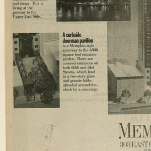"""1993-151-131a [left-hand page] and 1993-151-131b [right-hand page] comprise a double-page advertisement headed An Investment [a] in Architecture [b], imprinted in a curved format. Six ideographs featuring architectural elements are scattered near the heading.  At the center of (a) is a photograph of the Memphis (condominiums) uptown building, headed On the East Side, and followed underneath by uptown/Memphis (in the logo style)/ 303 East 60th Street/ at the bridge/ two blocks from the river/ call/ 935-6030/ for a priority appointment. To the left of and aligned with the central image are three photographic views: topmost, on the extreme left, is a shopping bag, captioned Bloomingdale's celebrates """"Ecco Italia""""/ September 11 to November 3/ (courtesy Bloomingdales); middle, partly overlaying the central image, is the East 59th Street Bridge; and bottommost, also on the extreme left, is the building's entryway. Each photograph is accompanied by a paragraph composed of marketing information. The three-level photographic view and accompanying paragraph format is repeated to the right of the central image: topmost, on the extreme right, is a pattern of black and white bathroom tile squares; middle, partly overlaying the central image, is the building's rooftop; and bottommost, also on the right, is a neighborhood gymnasium club. Below this last image is a broken swirl, in a Memphis studio-style squiggle pattern, enclosing eight lines of pricing information. Just above the bottom edge of the page is a line of type referring to the widespread influence on other designers of the Memphis design studios.  At the center of (b) is a photograph of the Memphis (condominiums) downtown building, headed In the Village, and followed underneath by Memphis (in the logo style)/ downtown/ 140 Charles Street/ in Greenwich Village/ one block from the river/ call/ 645-1050/ for a priority appointment. To the left of and aligned with the central image are three photographic views: topmost, sl"""