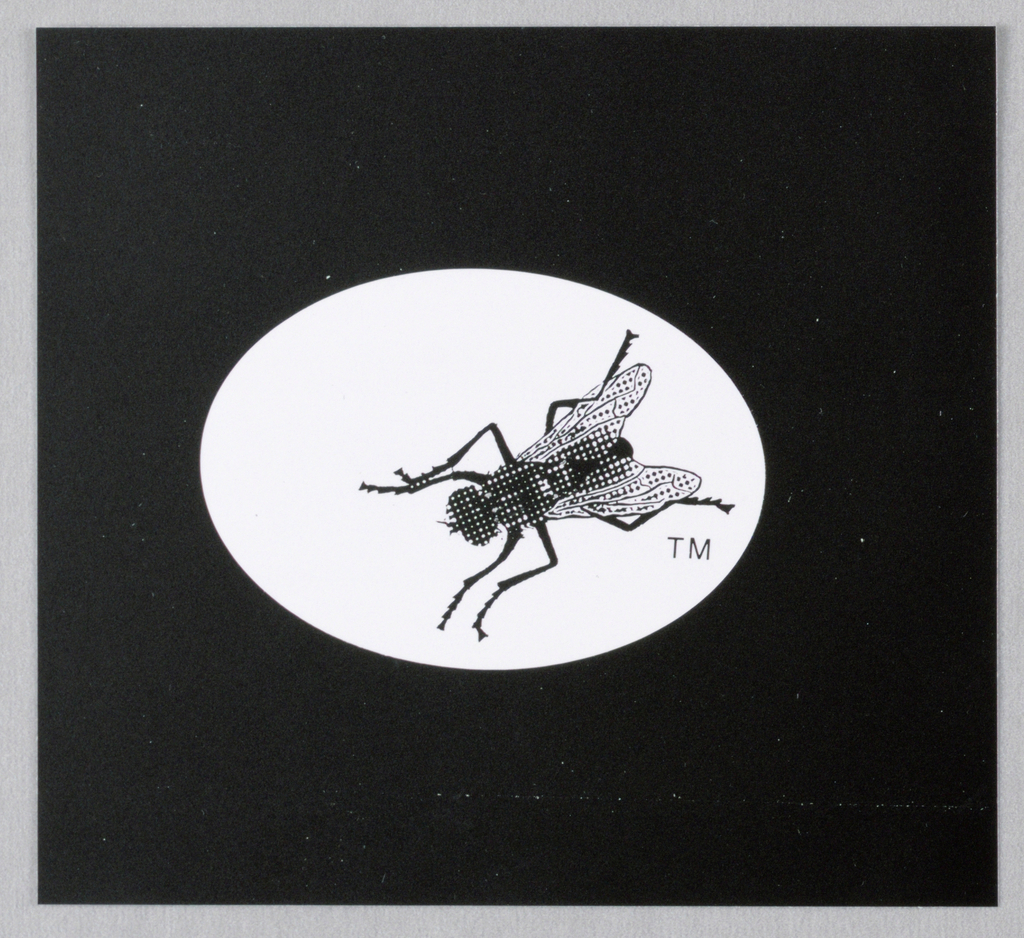 An illustration of a fly, approximately four times larger than actual size, is reproduced in black within a white oval on a black background. The fly is diagonally placed, its head downward, and is facing left. TM is imprinted on the right under left leg.