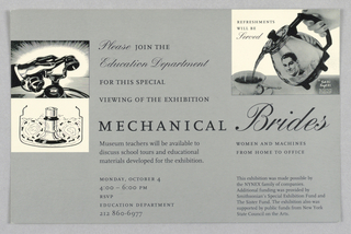 Exhibition Announcement, Mechanical Brides, 1993