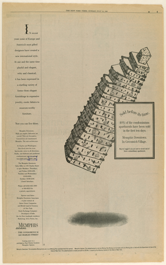 A cartoon-like sketch of the Memphis (condominiums) downtown building is placed on the diagonal, upper right to lower left, in the center of the page. The accompanying type, consisting of the heading in a curved format, followed by seven lines of copy, is enclosed within a bordered rectangle superimposed on the right edge of the building. A cloud-like smudge is centered near the bottom edge. A narrow, vertical column of copy, occupying the full length of the page, appears on the left, separated from the principal design by a dotted line. The introductory line of copy begins with the capital leter I, identical in design to the penultimate letter of the Memphis (condominiums) logo. Memphis [logo]/ downtown, followed by the two-line address and three lines of additional marketing copy, appears in the column close to the bottom edge of the page.