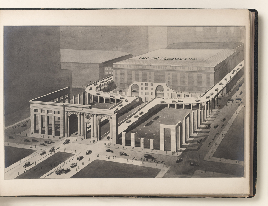 Seventeen photographs of isometric renderings of floor plans and sectional views of the proposed New York Central Railroad office building, to be erected across Park Avenue, at East 46th St., New York, NY, adjoining the North end of Grand Central Terminal.