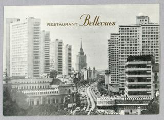 Postcard, Restaurant Bellevues:  City Skyline