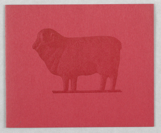Folding card: dard red sheep on front and partial sheep inside right edge.