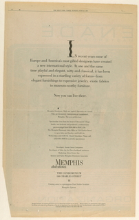 Imprinted copy comprises the entire full-page advertisement promoting the Memphis condominiums. The vertical of the capital letter I in the first word of the centered introductory paragraph is in the wavy style of the penultimate letter in the Memphis (condominiums) logo. The paragraph's eight lines in larger upper and lower case type are followed by fourteen lines in smaller type. Memphis [logo]/ downtown is underneath, followed by the two-line address in capitals, and a miniature, centered icon in a squiggle pattern. Two additional lines of copy underneath and an offering statement close to the bottom edge complete the design.