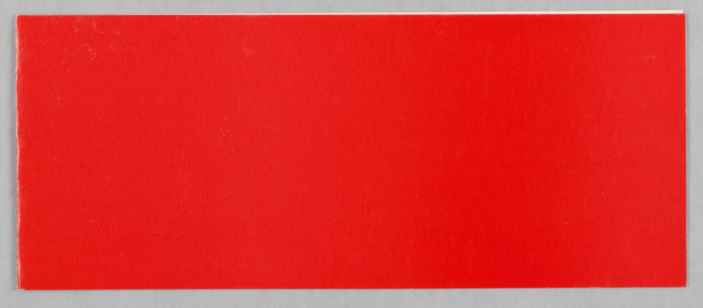 "Folding card; red exterior, green ""paint stroke"" interior"