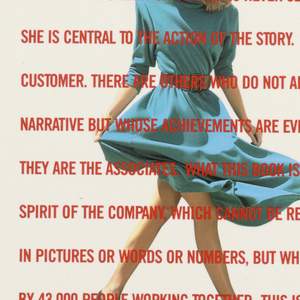 """The large brochure consists of 30-plus pages of multicolored photographic illustrations and text on glossy paper. Cover: A female model is standing, centered on a white background, her head turned to the left, her hair blowing backward, her feet positioned wide apart, as if walking toward the right; her blue dress is blowing upward and grasped by her left hand. Eleven lines of type in red upper case, beginning this is about a year in the life of a company and ending this is the story of The Limited in 1986, overlay the image.  Inside front cover and adjacent page: In tones of predominantly red and orange, a female model, dressed in white ruffled petticoat and blouse, """"cowboy""""-style hat and vest, and low, laced boots, is seated in a rocking chair, her legs extended and feet up on a table about the height of the chair arms. She holds an open book, but is looking into the distance. The table is covered by a white cloth and holds a metal coffee pot and pair of binoculars. The back of the chair leans against the side of a parked truck, partially viewed, but occupying the full page top-to-bottom. Above, a red canopy is attached to the truck on the left and supported by wooden poles on the right. Four lines of white type, imprinted on the right hand section of the canopy, announce the company's sportswear brand, Outback Red.  Page 2:  The design consists of a single line of italicized type, unaccompanied by an image, beginning in the center and extending across the right hand side. Page 3 (facing p. 2): A small rectangle in the upper left hand corner shows blue water and sky in a rocky landscape, in which a standing female model on the right in the middle distance looks toward the viewer. She wears a white skirt, blouse, and hat and red jacket and carries a purse; two suitcases are at her feet. Underneath the rectangle, slightly to the right, are eleven lines of type, grouped 6-1-4. The single line, after a break, juts out to the left on a line corresponding to the line on"""