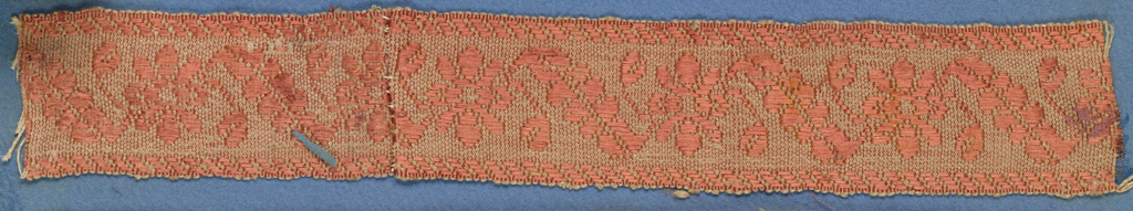 Light brown trimming fragment in a design of open flowers and diagonal leaves between borders in a twill pattern.