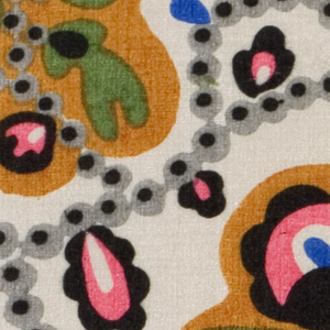 Abstracted floral with framing device in black, gray, green, ochre, and very bright pink on an ivory ground
