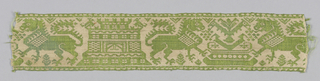 Woven band in green and cream. Design of confronted lions, a fountain and a castle.