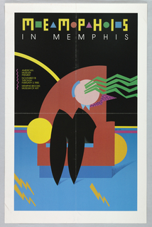 """At top, """"MEMPHIS IN MEMPHIS"""" printed in yellow above an abstracted image of a figure with long hair sitting in a multi-color chair on a blue and yellow carpet, set against a black wall.  At center left in yellow type: """"AMERICAN MUSEUM PREMIER/ NOVEMBER 18/ THROUGH/ FEBRUARY 3, 1985/ MEMPHIS BROOKS/ MUSEUM OF ART."""""""