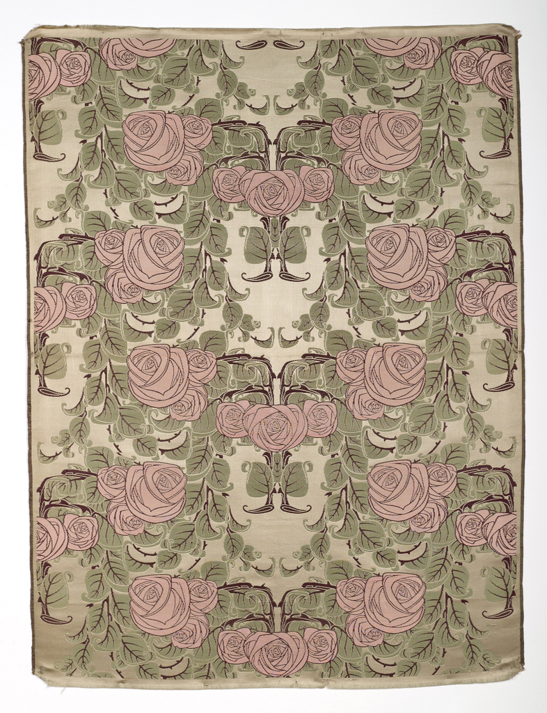 Sample of woven silk with a rose vines forming a classic ogival framework-type design of curving vines with thorns, leaves, and clusters of very stylized roses. In pink, green and brown on a cream-colored satin ground.