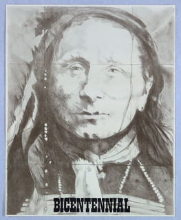 Vertical rectangle. Full face portrait of a Native American, printed black text at bottom center. One of seven posters in a paper portfolio.