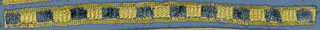 Yellow and blue trimming fragment in a design of alternating blue and yellow squares in cut and uncut velvet.