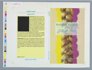 Front cover, vertical photographic image of a long blond braid on peach colored ground. To the right of braid, pink shadow and to the left of braid yellow shadow. Translucent white box superimposed on top of upper portion of braid with author's name in green above horizontal blue line inside box. Below horizontal blue line, title in blue caligraphic text. Horizontal white line superimposed on top of lower part of braid with line of blue text below white line. Back cover, author's name in green text above horizontal black line with title in blue text below black line. Sixteen lines of black text describing book, and below eight lines of black text about author all on yellow ground. Black rectangle to the upper left side of book review section of text. Lower part of page, horizontal blue line above one blue line of text. Spine, author's name in green above long blue line above long blue line with title in blue below. Lower portion of spine, one line of blue text.