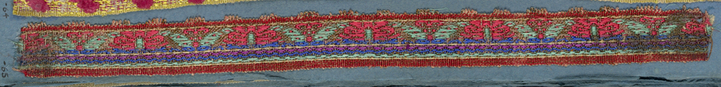 Red, green, blue, purple and yellow trimming fragment in a design of butterflies placed alternately up and down above a narrow band of broken lines. One picot edge.