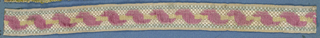 Design of a pink ribbon wound onto a white rod in cut velvet on a ground of gray and white basket weave.