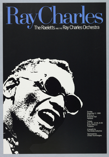 High contrast portrait of Ray Charles.
