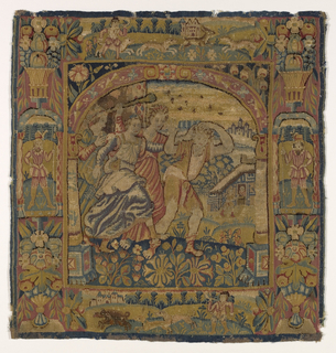 Cushion cover representing the expulsion of the prodigal son. Predominant colors are blue, rose and tan.