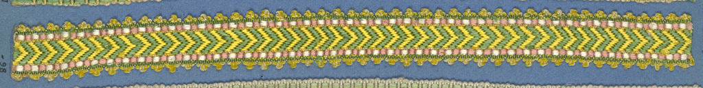 Trimming fragment in a design of green and yellow chevrons set between borders in pink and white; yellow picot edges.