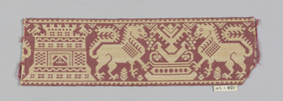 Red and white narrow woven band in a stylized design with confronted lions at a fountain and a castle.