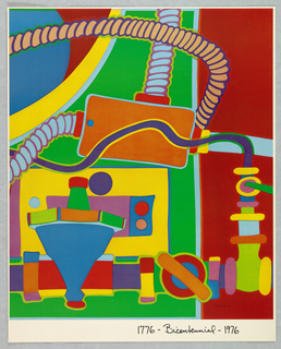 Vertical rectangle. Colorful arrangement of abstracted mechanical shapes with tubes and gears. Black text printed in script at bottom right. One of seven posters in a paper portfolio.