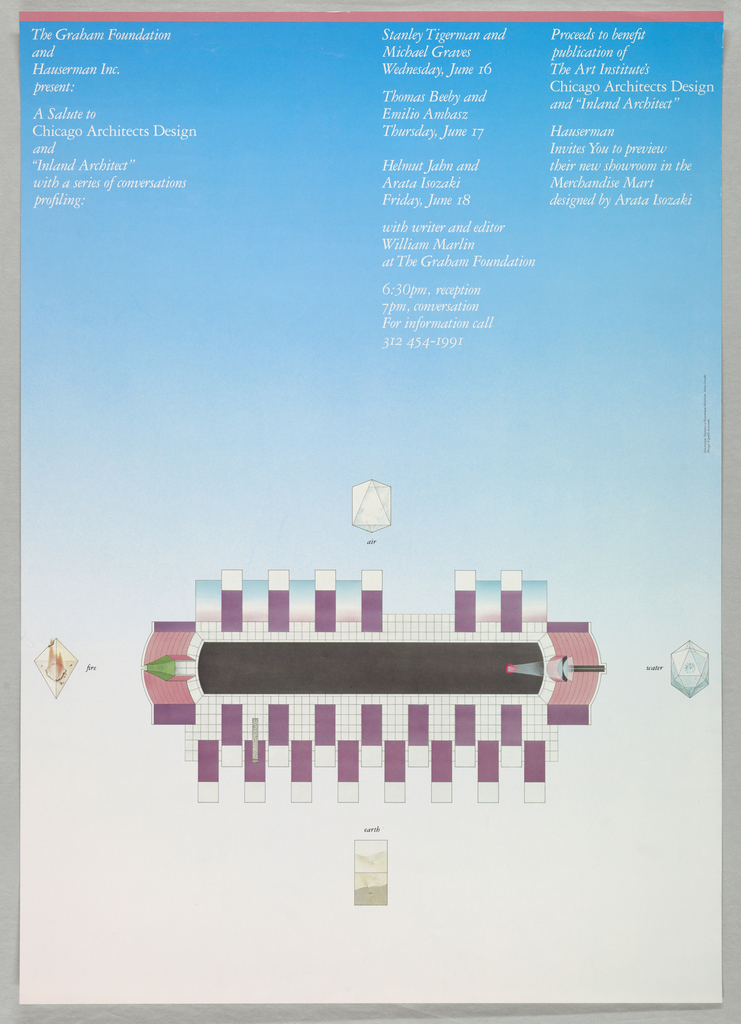 """Poster, The Graham Foundation and Hauserman Inc. Present a Salute to Chicago Architects Design and """"Inland Architect"""""""