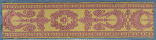 Trimming fragment in a design of alternating ornaments comprised of leaves, scrolls and dots in mauve on a yellow ground.