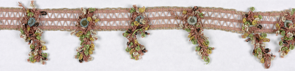 Woven openwork band of linen cord wound with pink silk and edged with pink chenille. Multicolored silk floss flower cluster stitched on at intervals, each topped with a rosette of broad membrane strips wound with pink silk, with blue silk and metal flower in the middle.