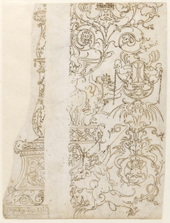 At left, a double baluster candelabrum in profile with ram's head and sphinx on pedestal.  At right, a grotesque design shows sphinxes, harpies, roosters and satyrs with hourglass entwined with vine tendrils.