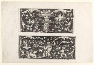 Print, Ornamental Foliage with a Mask and a Bowl of Fruit (Autre, offrant au milieu d'en bas un mascaron...)  Ornamental Foliage with an Old Man and Two Children