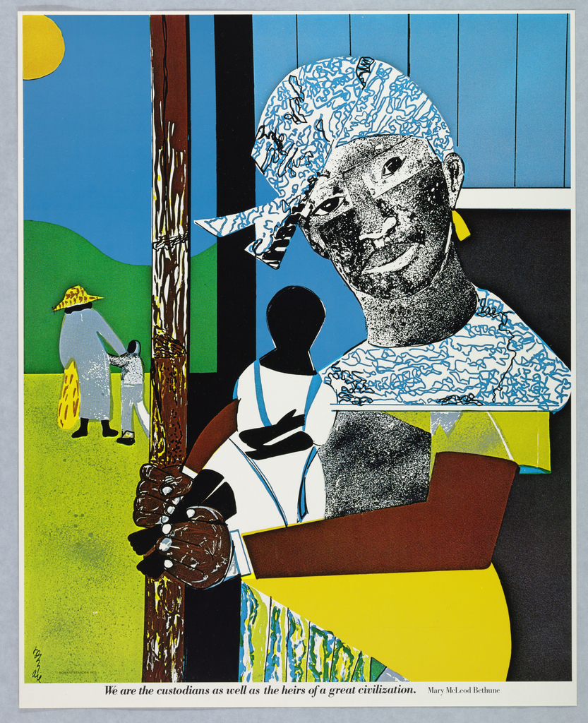 Figure of an African American woman at right wearing a printed kerchief on her head, colorful garments, and gold earrings. She holds a small child in white and blue dress. In the background, an adult figure wearing a hat and carrying a bag viewed from the back, holding the hand of a child. Collage elements used throughout design. One of seven posters in a paper portfolio.