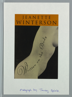 Front cover, thick pumpkin-colored band along upper edge with two lines of black text containing author's name. Below pumpkin-colored band, black and white photographic image of a woman's body in profile from chest to upper thigh. Figure is positioned diagonally from upper right to lower left corner of page. Title, superimposed on body in ascending pattern to follow the contours of the figure.