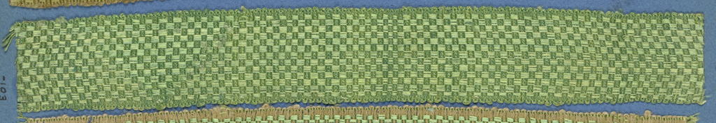 Green trimming fragment in a checkerboard design.