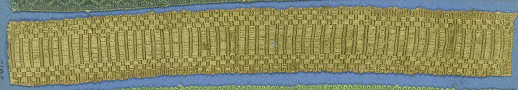 Green trimming fragment in a design of stripes between checkerboard borders.